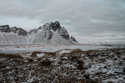 The snow covered landscape of Stokksnes, Iceland in the middle of winter.
