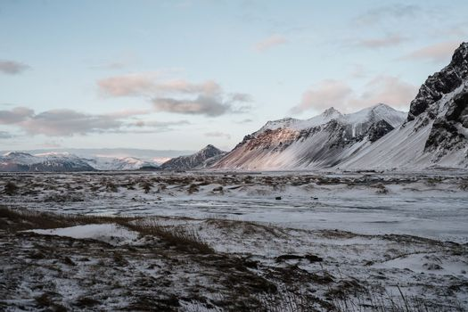 A snow covered landscape in Stokksnes, Iceland