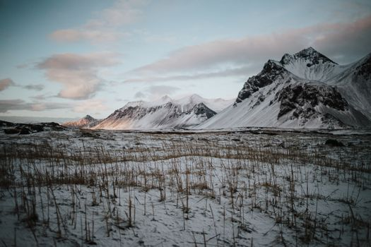 Snowy landscapes in Stokksnes, Iceland