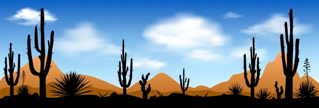 Stony desert with cactuses against the blue sky and white clouds. Desert, landscape, cacti and other plants against the blue sky.
