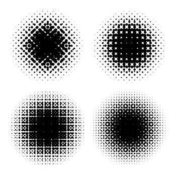Abstract geometric design graphic halftone elements. Set of raster circles with moire.