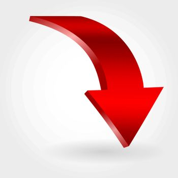 Red declining arrow as symbol of financial crisis