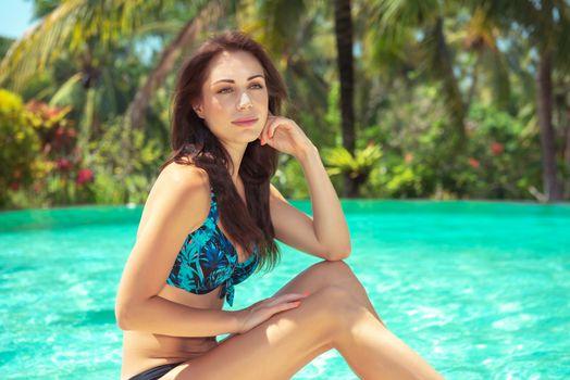 Female near the pool
