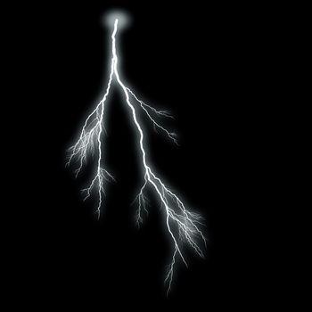 Lightning Isolated over Black Background
