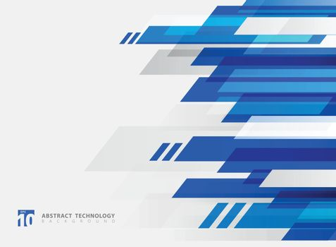 Abstract technology geometric blue color shiny motion background. Template with header and footer for brochure, print, ad, magazine, poster, website, magazine, leaflet, annual report. Vector corporate design