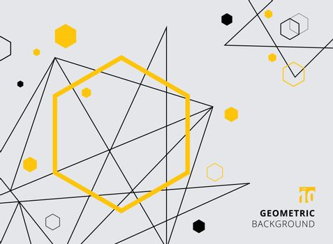 Abstract yellow and black geometric hexagon with lines on gray background. Vector illustration. You can use for your websites, blogs, banners, posters, for prints on clothes and other things, packaging etc.