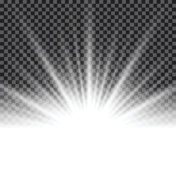 Lighting effect sunburst or sunbeams on transparent background. Vector illustr