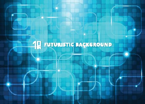 Abstract blue squares virtual technology concept futuristic digital background with space for your text. Vector illustration