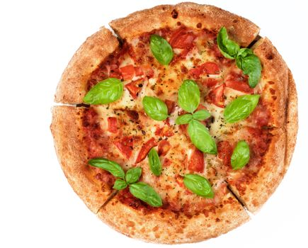 Freshly Baked Margherita Pizza with Tomatoes, Cheese and Basil Leafs isolated on White background. Top View