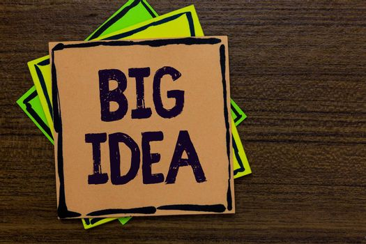 Word writing text Big Idea. Business concept for Having great creative innovation solution or way of thinking Paper notes Important reminders Express ideas messages Wooden background