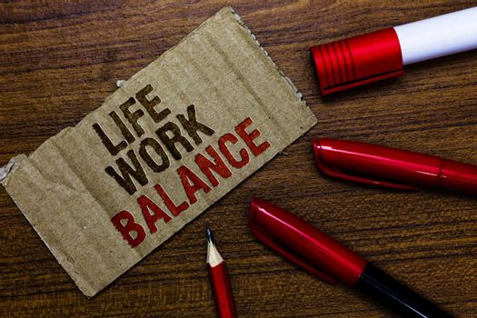 Word writing text Life Work Balance. Business concept for stability person needs between his job and personal time Pen pencil cap board marker pointer text cardboard notice script idea
