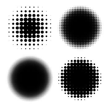 Abstract Halftone Backgrounds. Vector Set of Isolated Rasterized Modern Design Element