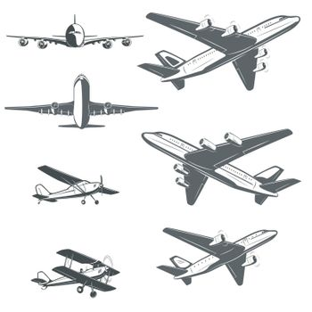 The set consists of retro airplanes and modern airliners.