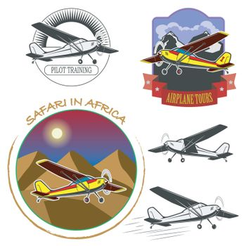 A set of small planes against the backdrop of the mountains and the desert. For pilots and tourists.