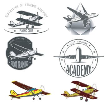 The silhouette of a passenger airplane in a flight. From different angles.  vintage, small aircraft. For advertising and design.