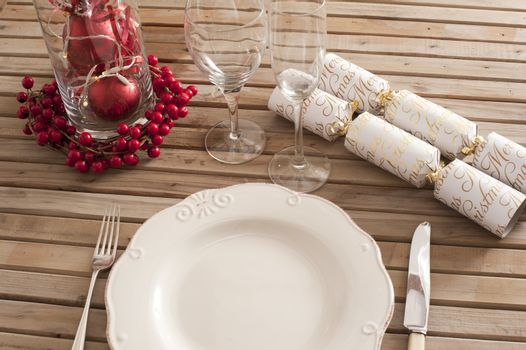Christmas Table setting with decorations