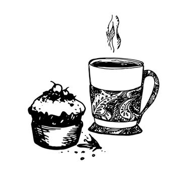 Hand Drawn Sketch of Tea Cup and Delicious Cupcake. Vintage Sketch. Great for Banner, Label, Poster