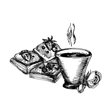 Hand Drawn Sketch of Coffe Cup and Delicious Puffs. Vintage Sketch. Great for Banner, Label, Poster