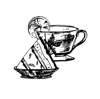 Hand Drawn Sketch of Tea Cup and Delicious Cheesecake. Vintage Sketch. Great for Banner, Label, Poster