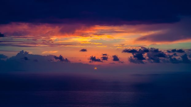 Dramatic sunset over the sea