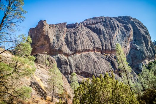 Scenic landscape of the famous site of Pinnacles National Park in Central California