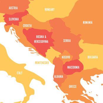 Political map of Balkans - States of Balkan Peninsula. Four shades of orange vector illustration