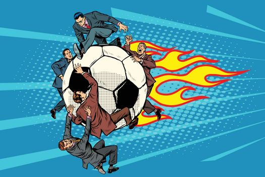 the football is flying like a meteor. competition of politicians in sports. Pop art retro vector illustration vintage kitsch drawing