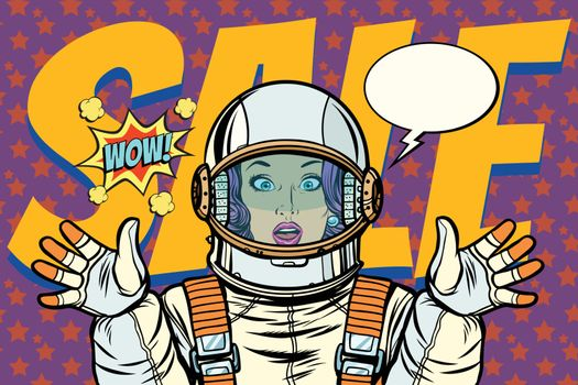 discounts sales woman wow astronaut retro background