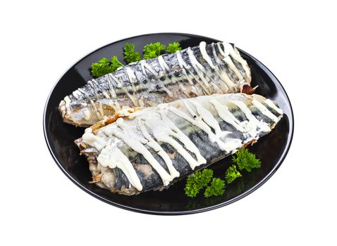 Baked mackerel isolated on white background with clipping path