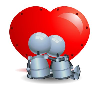 illustration of a happy droid little robot couple romance on isolated white background