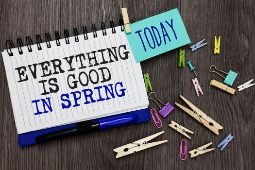 Writing note showing Everything Is Good In Spring. Business photo showcasing Happiness for the season Enjoy nature Different paperclip on woody table pinch on written notepad blue pen