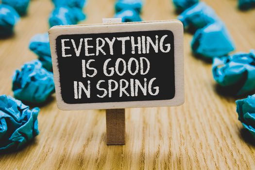 Handwriting text writing Everything Is Good In Spring. Concept meaning Happiness for the season Enjoy nature Stand blackboard with white words behind blurry blue paper lobs woody floor