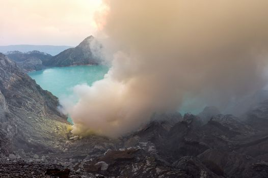 Sulfur fumes from the crater of Kawah Ijen Volcano in Indonesia
