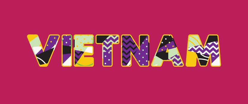 The word VIETNAM concept written in colorful abstract typography. Vector EPS 10 available.