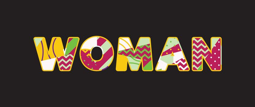 The word WOMAN concept written in colorful abstract typography. Vector EPS 10 available.