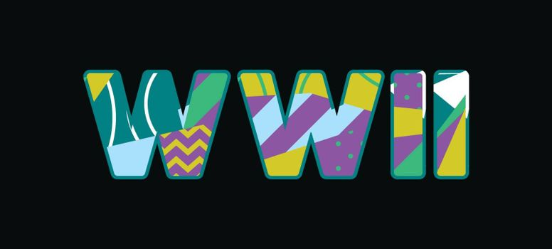 The word WWII concept written in colorful abstract typography. Vector EPS 10 available.