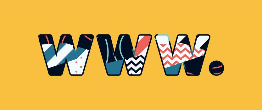 The words WWW DOT concept written in colorful abstract typography. Vector EPS 10 available.