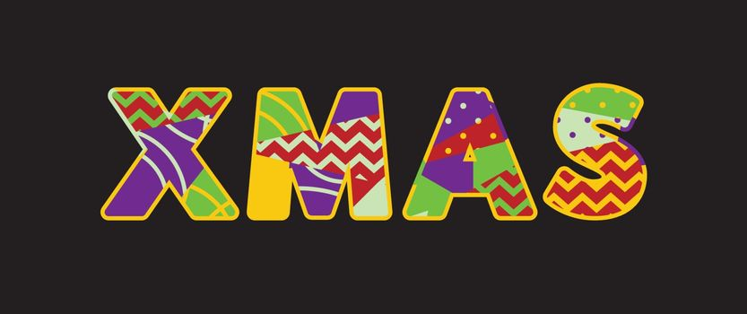 The word XMAS concept written in colorful abstract typography. Vector EPS 10 available.