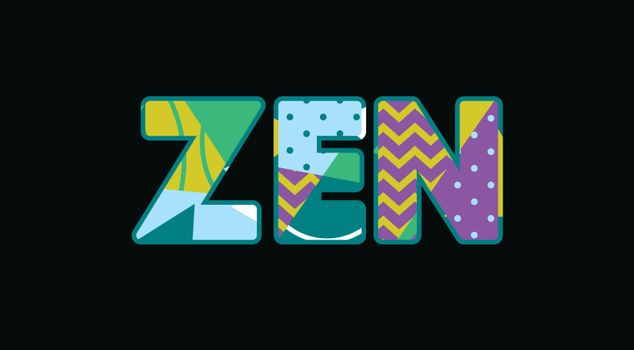 The word ZEN concept written in colorful abstract typography. Vector EPS 10 available.