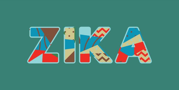 The word ZIKA concept written in colorful abstract typography. Vector EPS 10 available.
