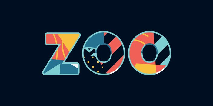 The word ZOO concept written in colorful abstract typography. Vector EPS 10 available.