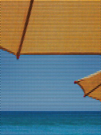 Sun Umbrellas and the Ocean Dotted Vector Illustration