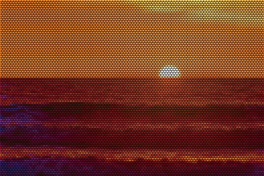 San Diego Sunset Dotted Vector Illustration
