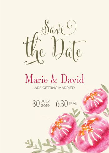 Beautiful wedding invitation with watercolor flowers. Save de date card. Vector