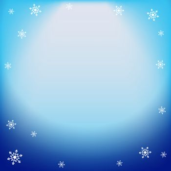 Winter vector blue light effect, projector ray with shining halo and snowflakes