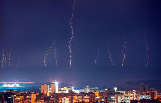 Lightning in night city