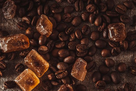 scattering of coffee beans and sugar