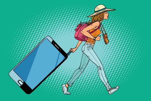 Woman traveler with a smartphone. Gadget instead of Luggage