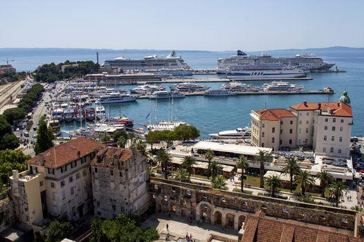 Split city harbor in Croatia in summer.
