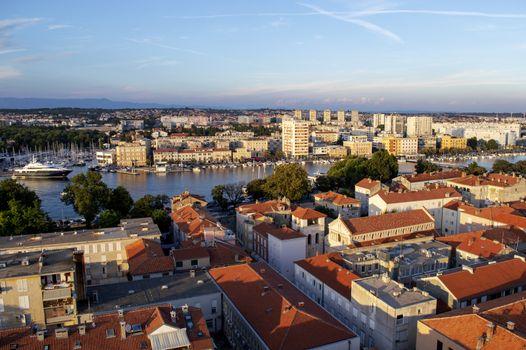 Zadar city landscape overview in Croatia in summer.